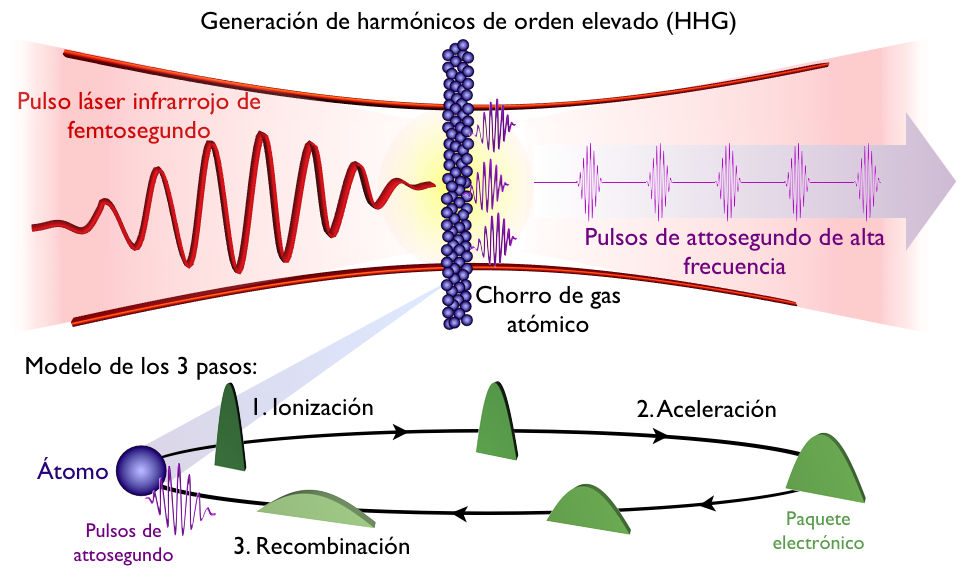 Figura 2. Esquema de producción de pulsos de attosegundo mediante la generación de harmónicos de orden elevado (HHG). Un pulso láser infrarrojo es focalizado en un gas (por ejemplo argón, helio, xenón…), de manera que en cada átomo del gas ocurre un proceso explicado mediante el modelo de los tres pasos: ionización, aceleración y recombinación. Como resultado de la colisión, se emiten pulsos de attosegundo de alta frecuencia.