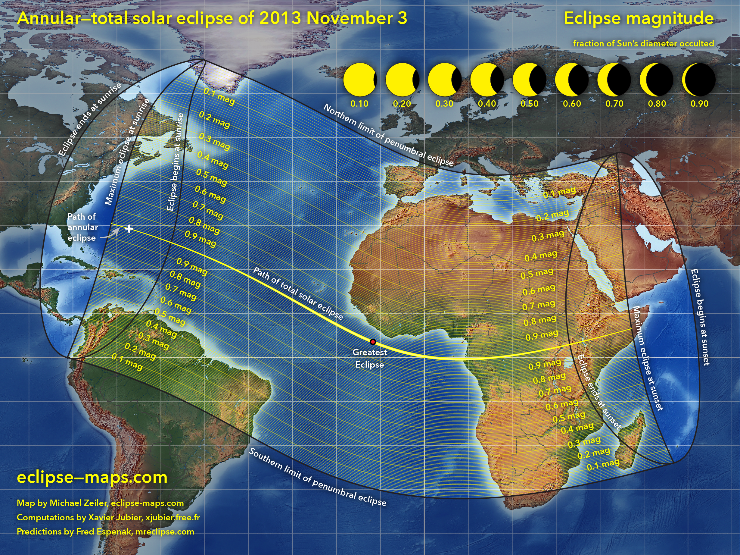 Zona del eclipse híbrido de Sol de 2013. Imagen: Michael Zeiler-OSAE.