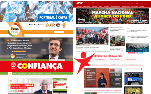 Os sites dos partidos políticos.
